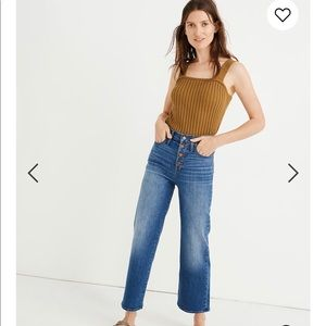 NWT Madewell slim wide leg crop jeans